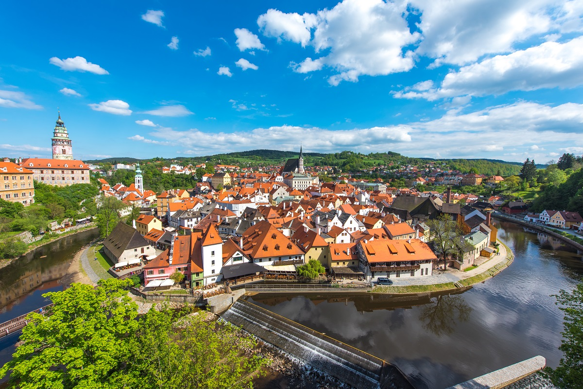 Cesky Krumlov city from aerial view with river in perfect sunny