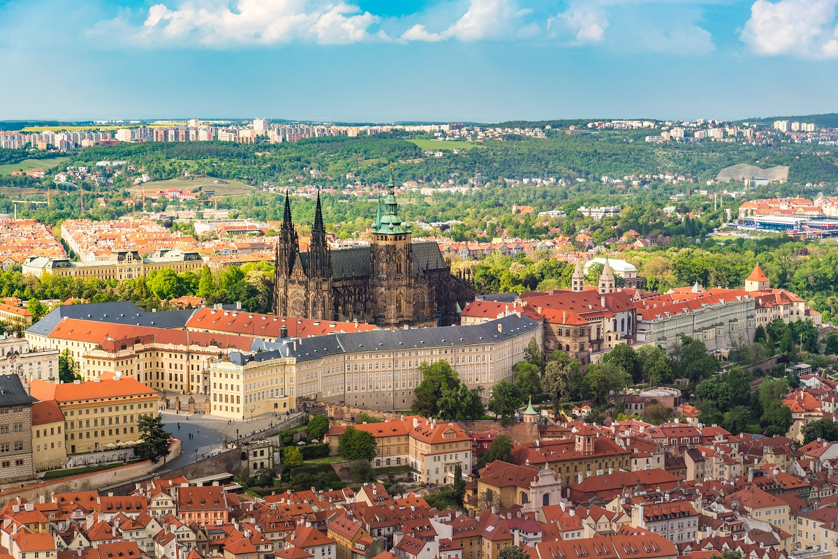 Prague castle in the middle of the city with beautiful sky, Prag