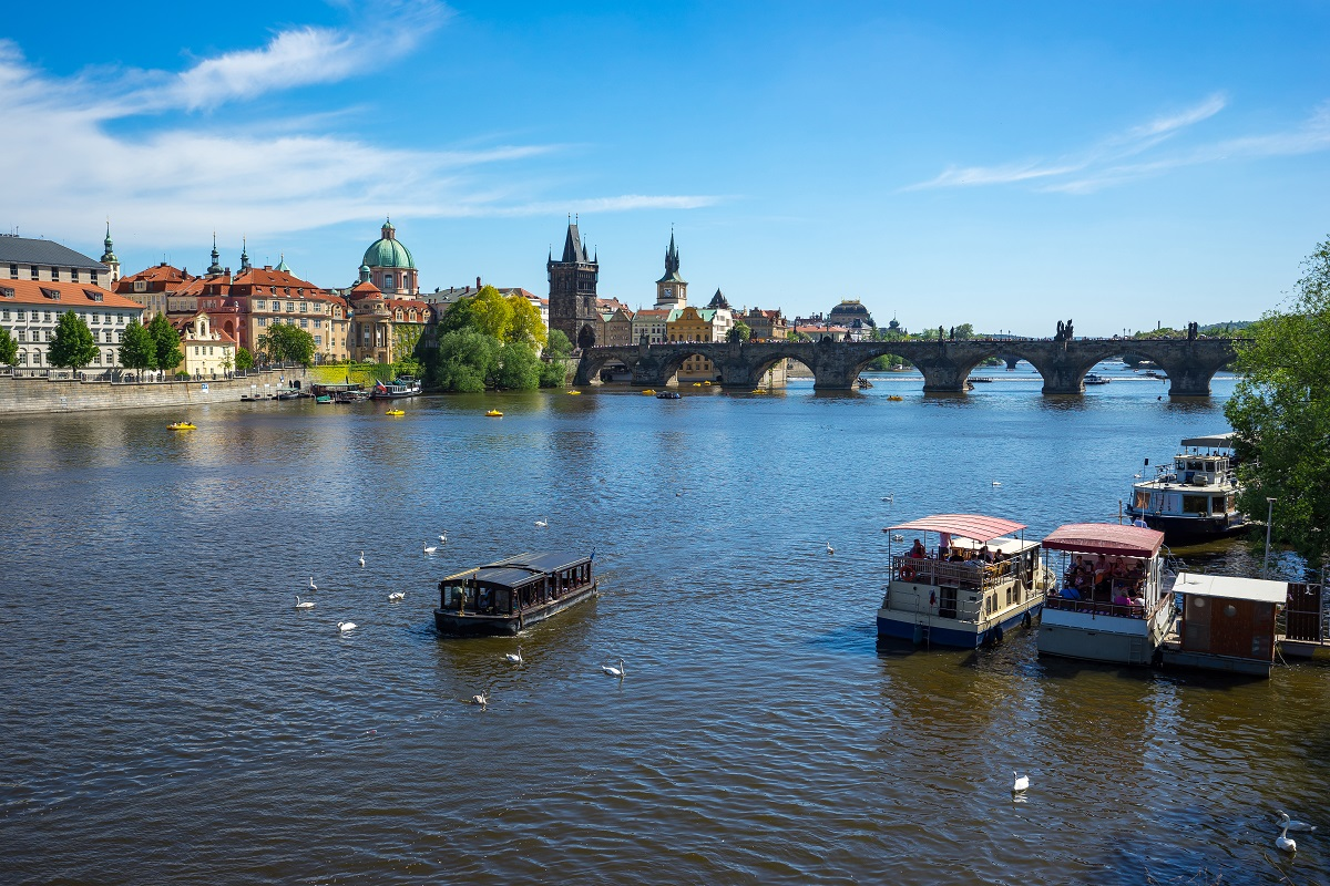 Prague city with view of Charles Bridge in Prague, Czech Republi