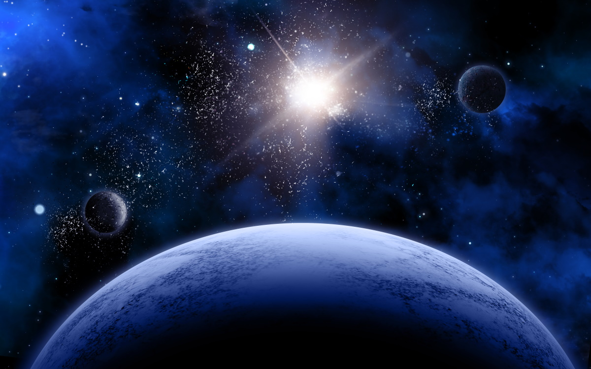 3D space scene with fictional planets and stars