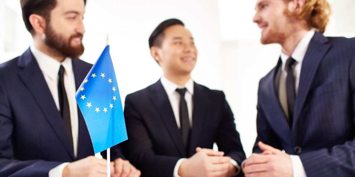 EU flag business meeting