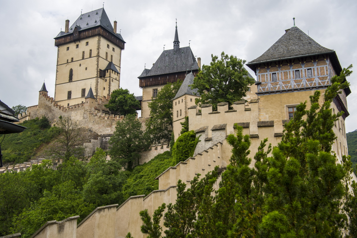 Royal castle Karlstejn in Czech Republic. June, 2019.